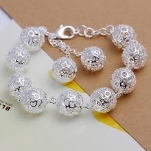 Couleur argent exquis grande balle noble chaîne bracelet mode breloque femmes dame femelle section cadeau danniversaire bijoux H088