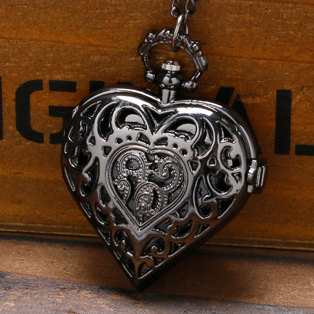 Heart Sweet Gifts for Women Ladies Girl Wife Girlfriend Hollow Fine Quartz Pocket Watches Necklace Pendant Chain Nurse Watch fashion silver heart shaped lovely hollow elegant quartz pocket watch necklace pendant for women ladies girl birthday gift p605