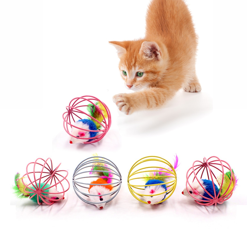 1pc Cat Toy Stick Feather Wand With Bell Mouse Cage Toys Plastic Artificial Colorful Cat Teaser Toy