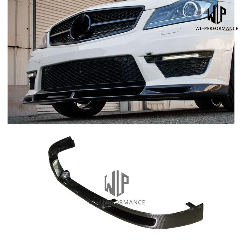 Divisor de labios frontal de fibra de carbono estilo W204 V Ajuste de estilo de coche para mercedes-benz Clase C W204 C63 AMG Kit de carrocería de coche 2011-2014