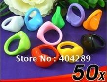 Gros 50 pcs coloré filles coeur Lucite résine anneaux/Nail Art anneaux, livraison gratuite