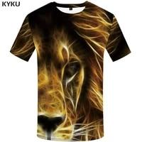 kyku brand lion t shirt fluorescence tshirt animal shirts t shirt plus size clothing men print sexy slim xs 8xl