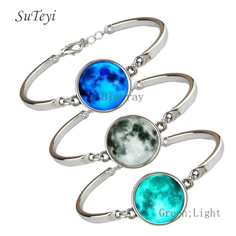 Suteyi estrela luminosa série planeta pulseira de cristal pulseiras & pulseiras brilho na escuridão handmdae pulseiras jóias