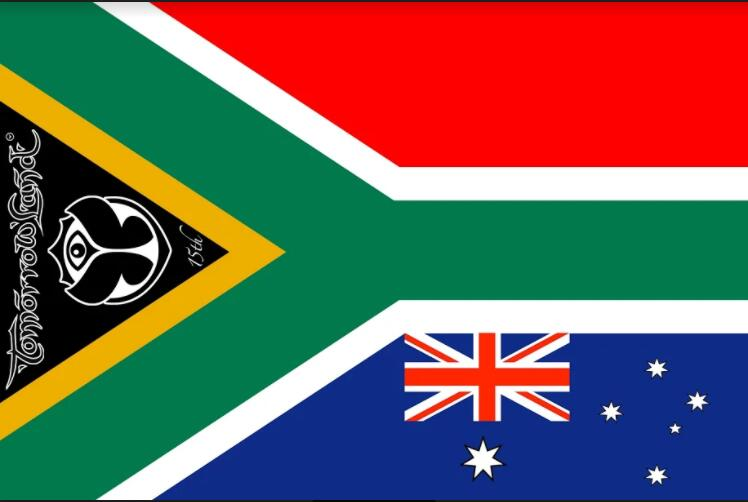 Флаг Tomorrowland с Южной Африкой и австралийским флагом баннер 3x5ft