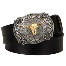 Male genuine leather belt American West cowboy cow head pin buckle cowhide belt men gift