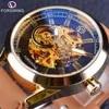 Forsining – montre-bracelet en cuir véritable pour hommes style Cowboy marron militaire marque de luxe automatique