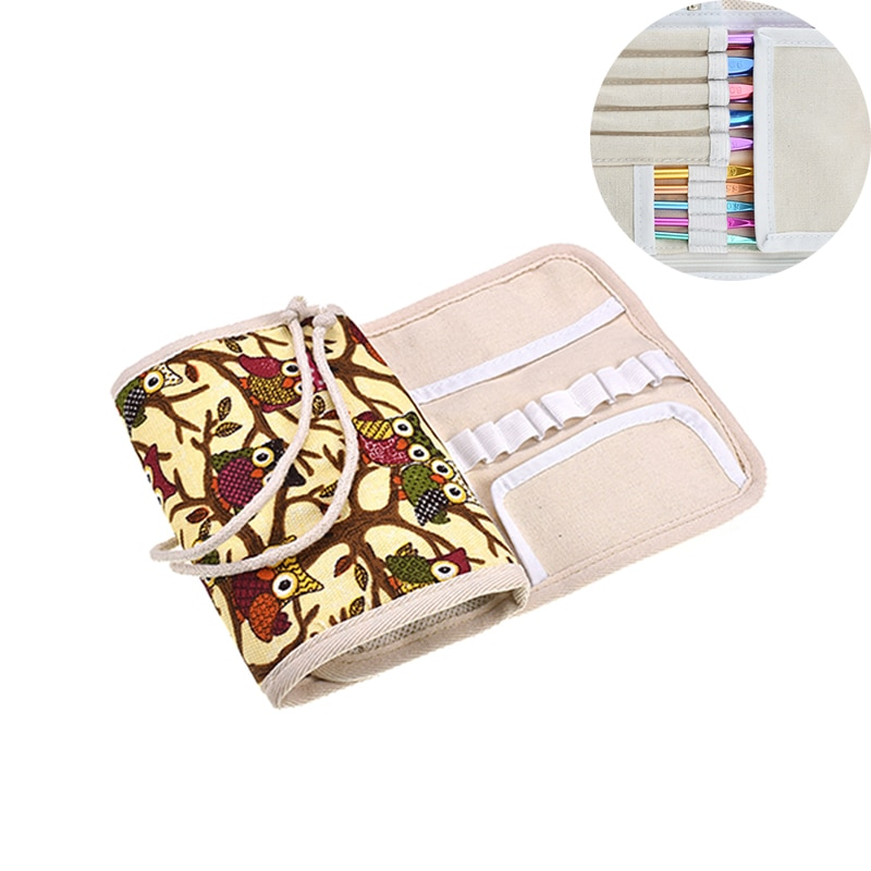 1 Uds estilo de búho, Kit de costura bolso para ganchillo, aguja de ganchillo, estuche protector de artesanía de hilo accesorio de herramientas de costura CK075-C1