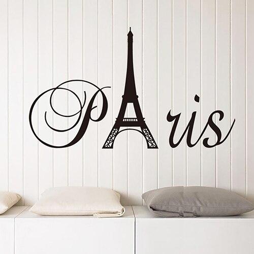 Design de mode Paris tour Eiffel lettres anglaises autocollant mural pour magasin de décoration intérieure 207