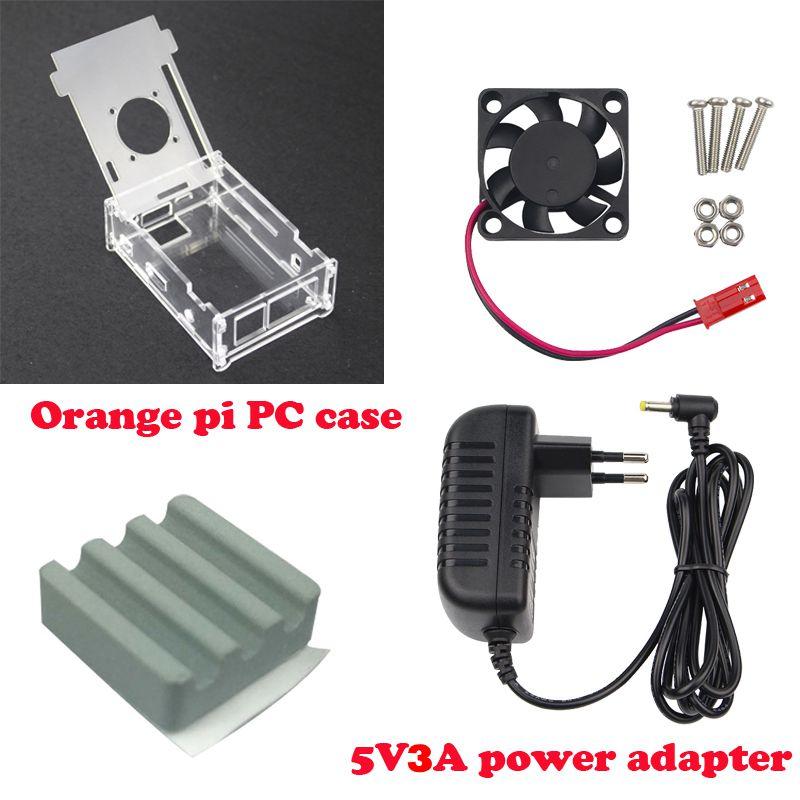 Горячая распродажа Прозрачный Акриловый чехол для Orange Pi PC + DC 5V 3A зарядное устройство + охлаждающий вентилятор + керамический радиатор для Orange Pi PC Plus