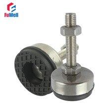 Pied antidérapant réglable à filetage M16/M18/M20   2 pièces, diamètre de 85mm, Base antidérapante en acier inoxydable 304, longueur de 150mm
