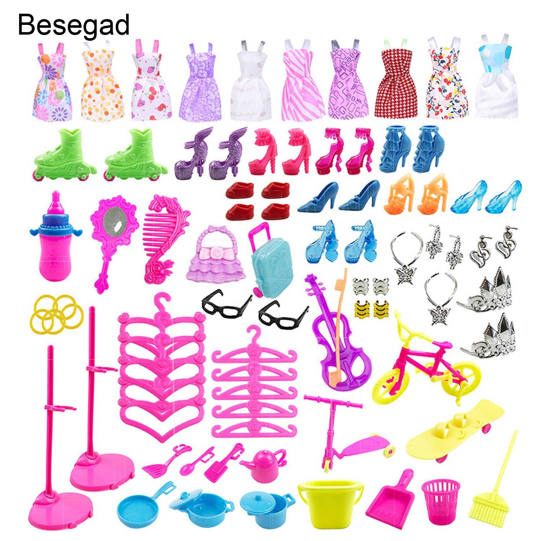 Besegad 88 piezas accesorios completos de muñeca Kit de tacones altos conjuntos de herramientas de cocina vestido de moda para muñeca Barbie juguetes casa niñas regalo