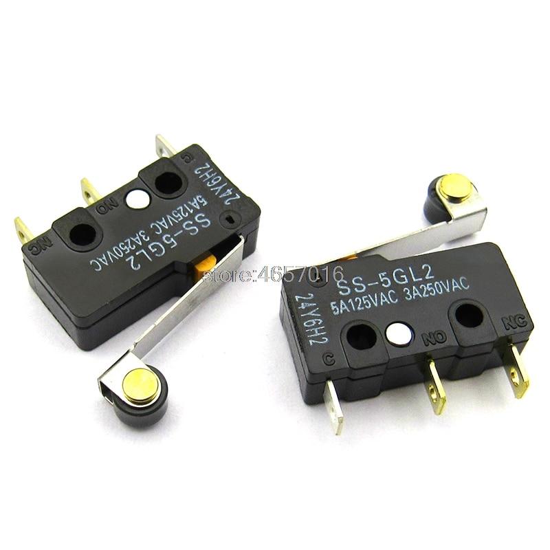 Envío Gratis, 10 Uds., OMRON SS-5GL2, palanca de rodillo de bisagra SPDT, 3 pines, interruptor de límite básico subminiatura