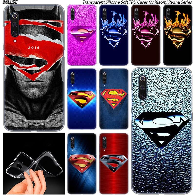 Funda de silicona suave con logo de Superman para Xiaomi pocofone F1 mi 5X A1 6X A2 8 SE Lite Play mi x3 9 9SE 9T Pro CC9