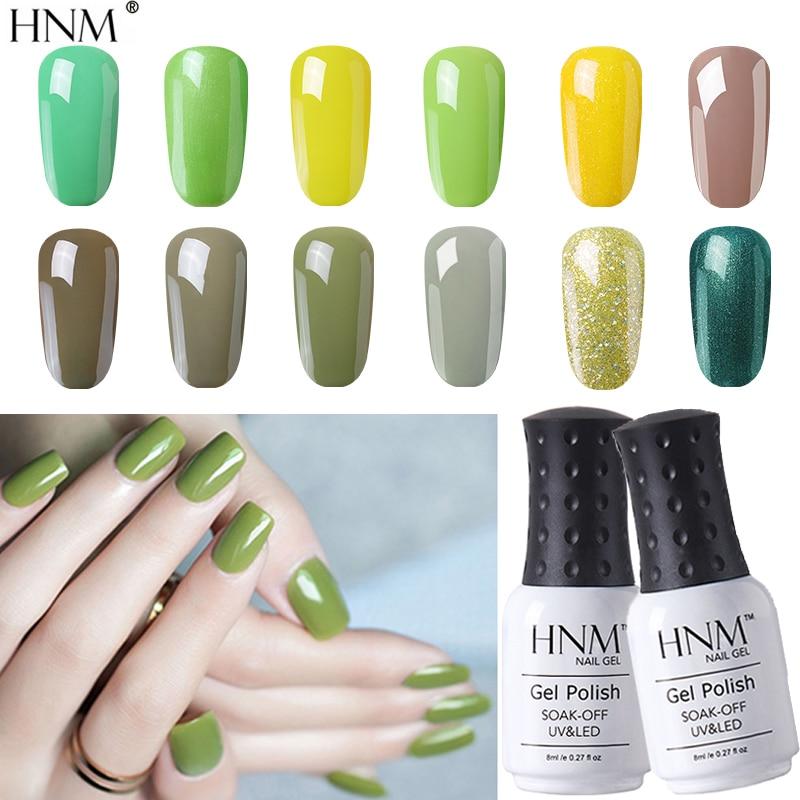 HNM 8ML Green Series Turquoise Color Nail Gel UV LED Soak Off Long Lasting Gel Nail Polish Lacquer Varnish Spring Summer Color