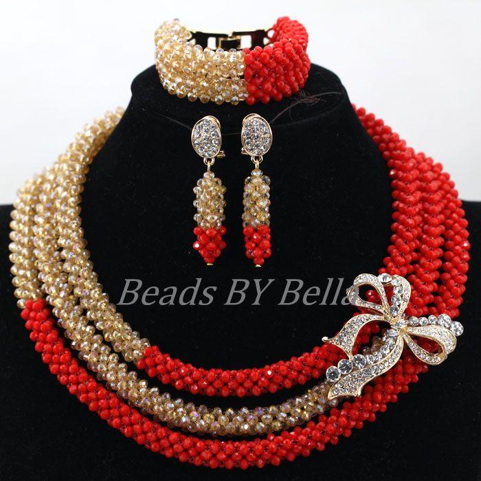 Handmade Beaded Nigerian Wedding Jewelry Set Amazing Red Bridal Crystal Necklace Set Dubai Gold Jewellery Free Shipping ABK899