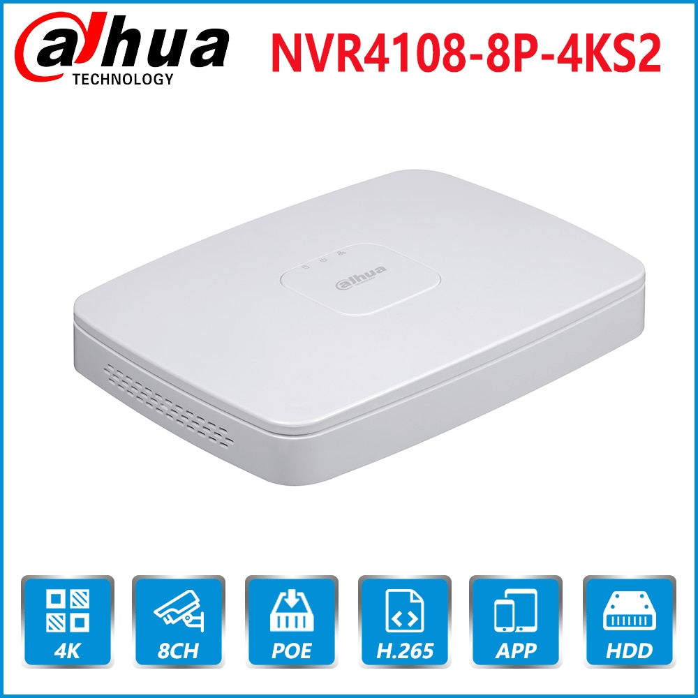Dahua inglés Original 4K NVR PoE NVR4108-8P-4KS2 con 8ch PoE h.265 Video grabador ONVIF apoyo 2,4 SDK CGI con logo