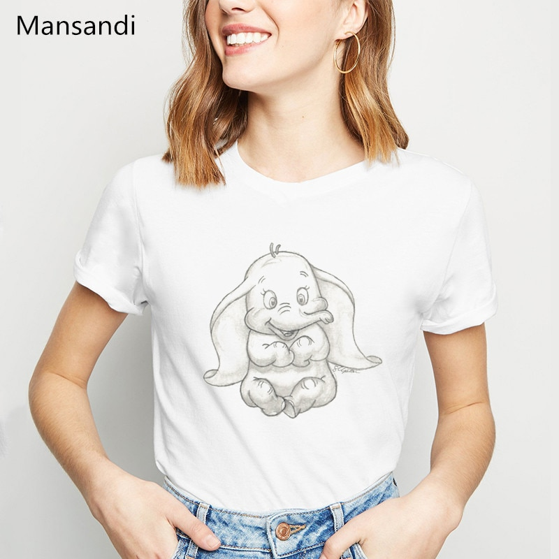 Dumbo adorable Elephant Sketch animal Print T-Shirt women clothes 2019 vogue funny t shirts femme tumblr tops tee female t-shirt