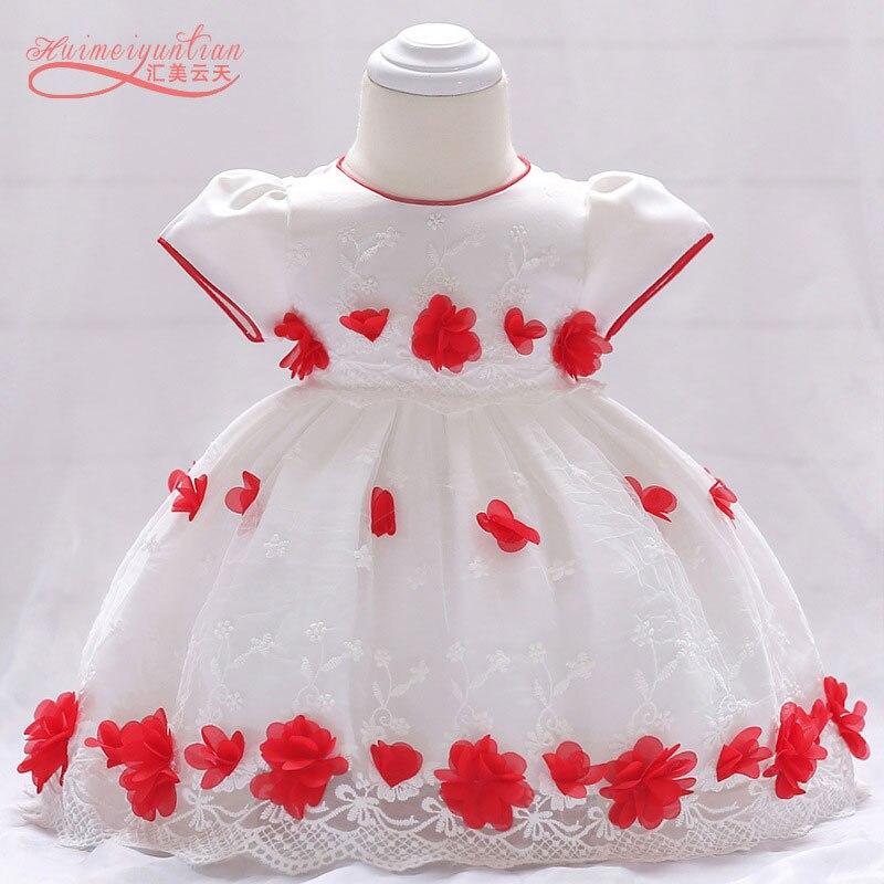 Summer Red Flower Princess Wedding Bow Newborn Christening Gown Baby Girl Dresses Baptism 1st Birthday  Girl Bow Infant  Dress