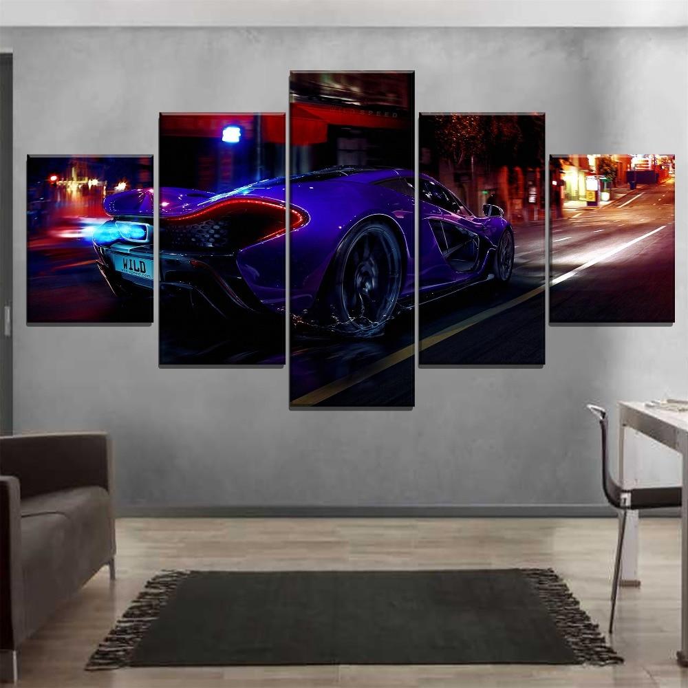 Modular Lona Poster HD Imprimir 5 peça Na Rua durante a Noite P1 McLaren Sport Car Back View Pictures Living arte Da Parede Da sala Decor