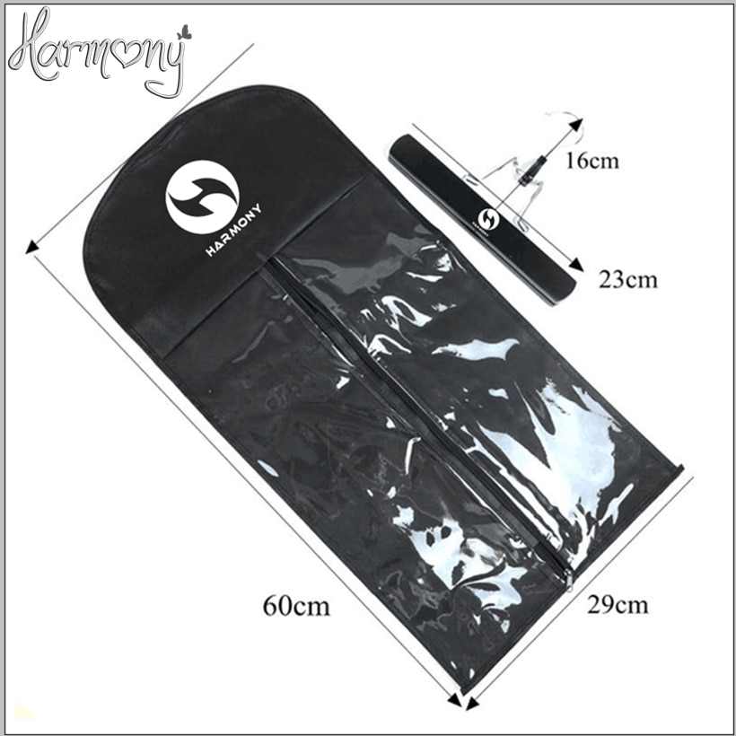 100sets with logo Black zipper hanger hair extension packing suit case bags hair packaging for clip weft hair and ponytail