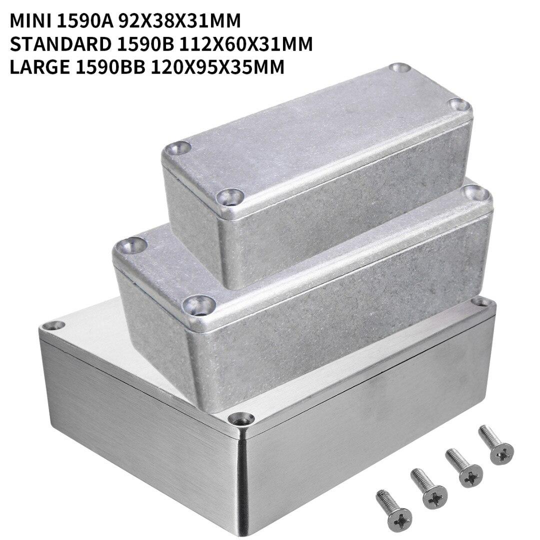 1 pçs caixa de instrumento gabinete alumínio prata diecast eletrônico stompbox projeto caixa com 4 parafusos aço
