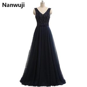 robe de soiree 2017 Hot Sale naby Blue V-neck Cheap Evening Dress vestidos de festa Beading Under 50 Prom Dress