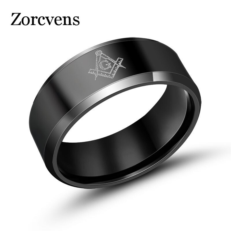 ZORCVENS, anillos masónicos geniales de Color negro y dorado para hombre, anillo de titanio para hombre, joyería Vintage, joyería con abalorios