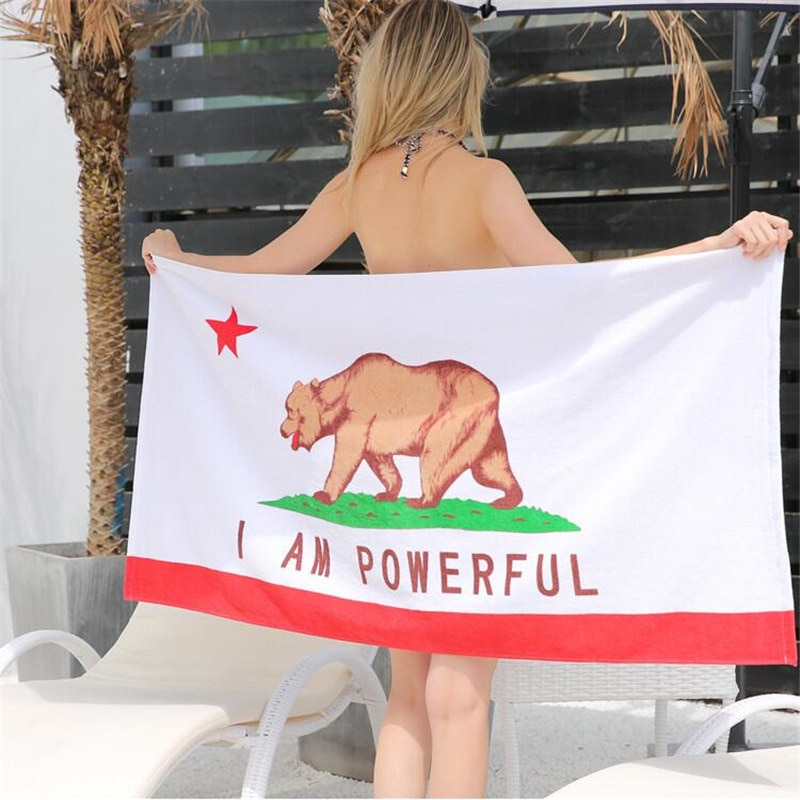 Toalla de playa 100% esterilla de algodón para yoga oso leopardo estampado Rosa Camping Mat verano baño toalla hermosa 3D superabsorbente XHS1016