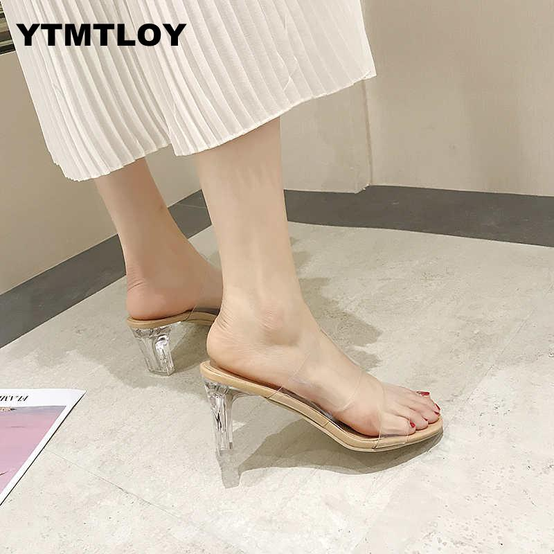 Zapatos de tacón claros 2019, sandalias chancletas para mujeres, zapatos de verano para mujer, tacones de salón transparentes, zapatos de boda Jelly Damskie de tacón alto