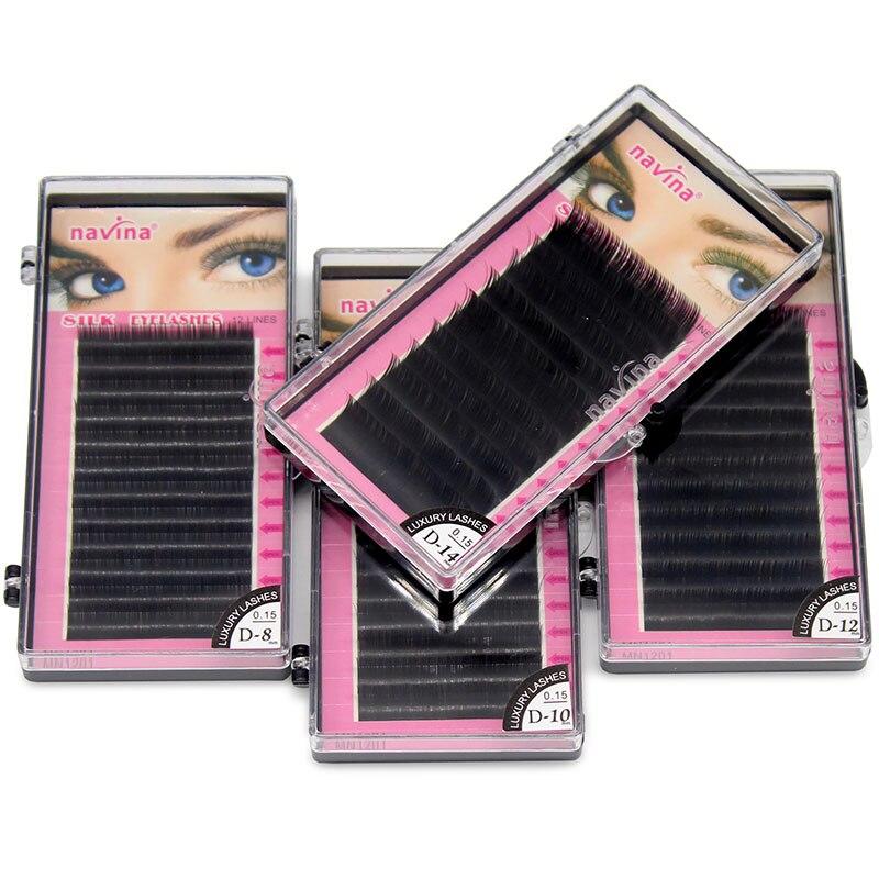 Navina 4cases/Lot Natural Long Black Silk Eyelashes Extension Individual Mink Eyelash Soft False Fake Eye Lashes 0.15C 0.15D
