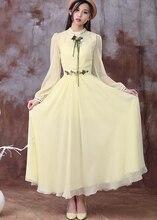 Free Shipping Elegant Bohemian Style Flower Decorated Embroidery Long Sleeve Woman Chiffon Long Dress