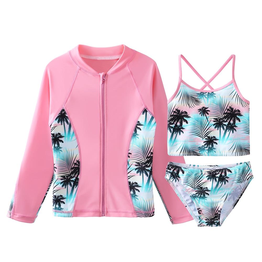 BAOHULU/купальный костюм с защитой от солнца и принтом, комплект бикини для девочек, Ультрафиолетовый купальник для детей, Детский купальник, к...