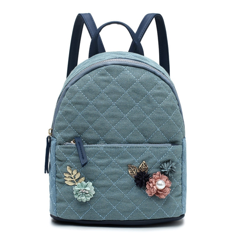 Mochila Floral para mujer, bolso para chicas adolescentes, mochila de moda con hilo para mujer, pequeña tela vaquera a cuadros, mochilas de viaje, bolsas, bolsa