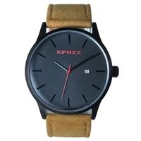 fashion casual epozz mens business quartz leather strap watches alloy dial 5 bar waterproof auto date simple design relog