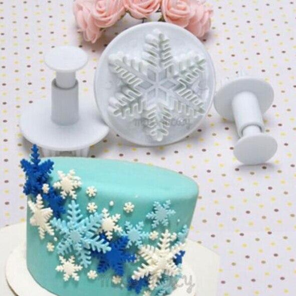 3 unids/set copo de nieve Fondant pastel molde plug stand Cupcake decoración galletas moldes de accesorio de cocina herramienta para hornear