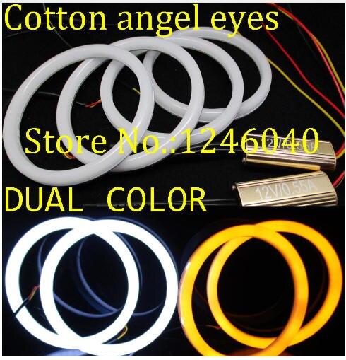 Doble color blanco y ámbar algodón LED Ojos de Ángel halo ring kit DRL intermitente luz lámpara para BMW E46 2D Coupe 320 328 330 Cabrio
