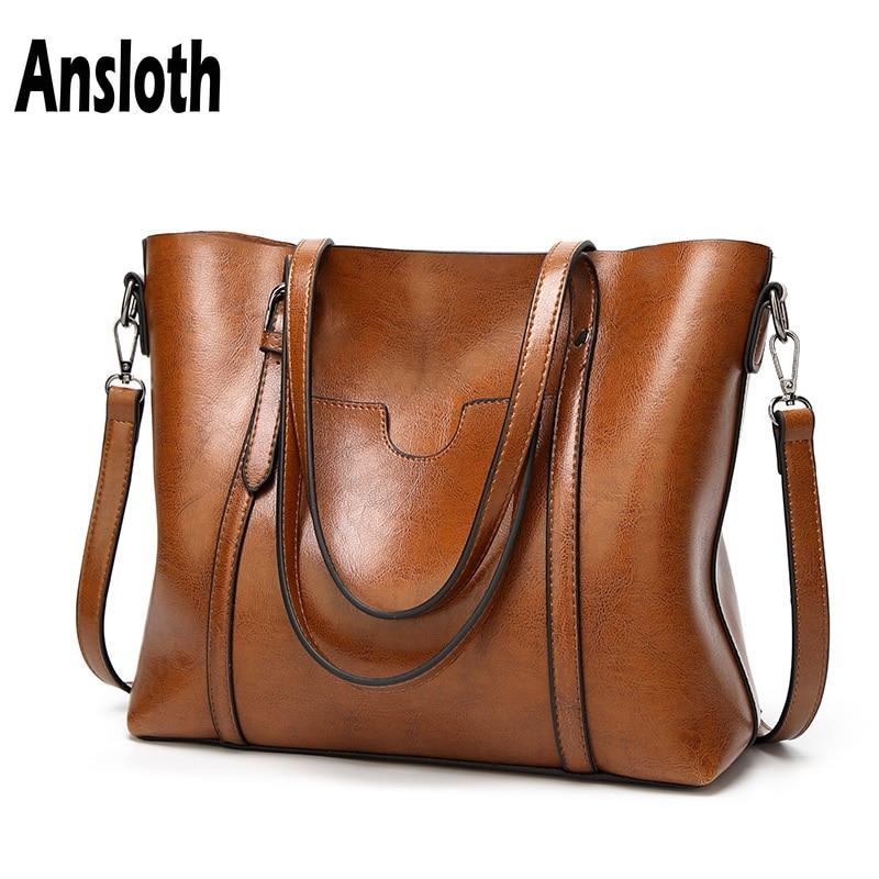 Ansloth Women bag Oil wax Women's Leather Handbags Luxury Lady Hand Bags With Purse Pocket Women messenger bag Big Tote HPS97