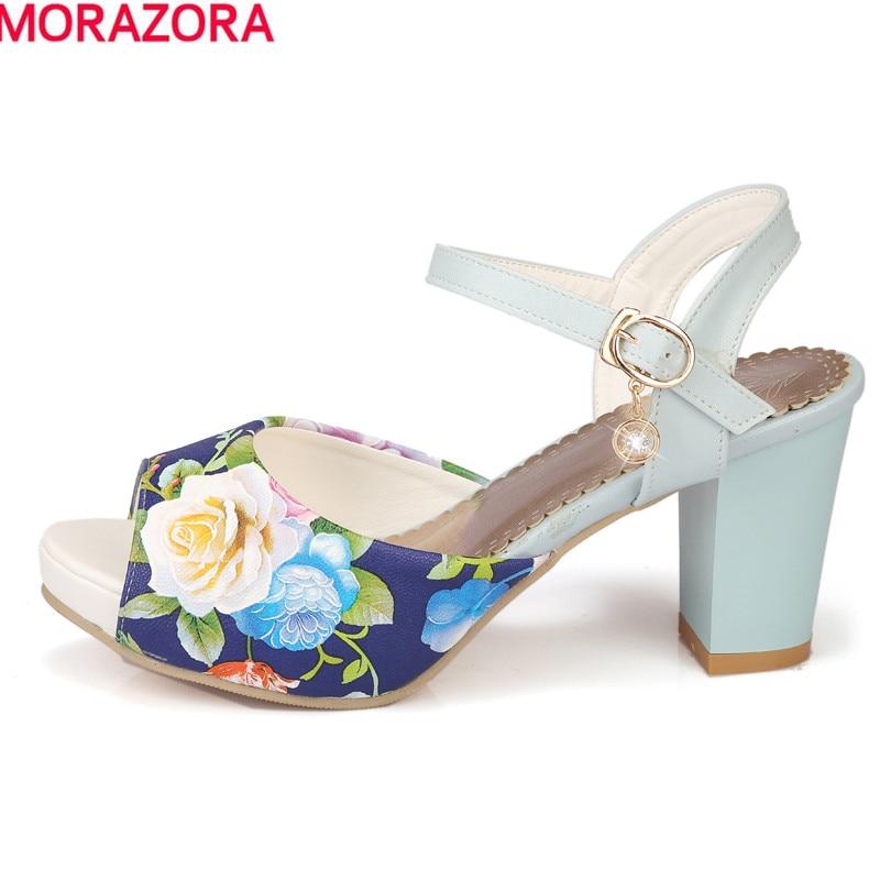 MORAZORA Hot sale women sandals ankle strap Bohemia high heels peep toe summer dress shoes print leather female shoes