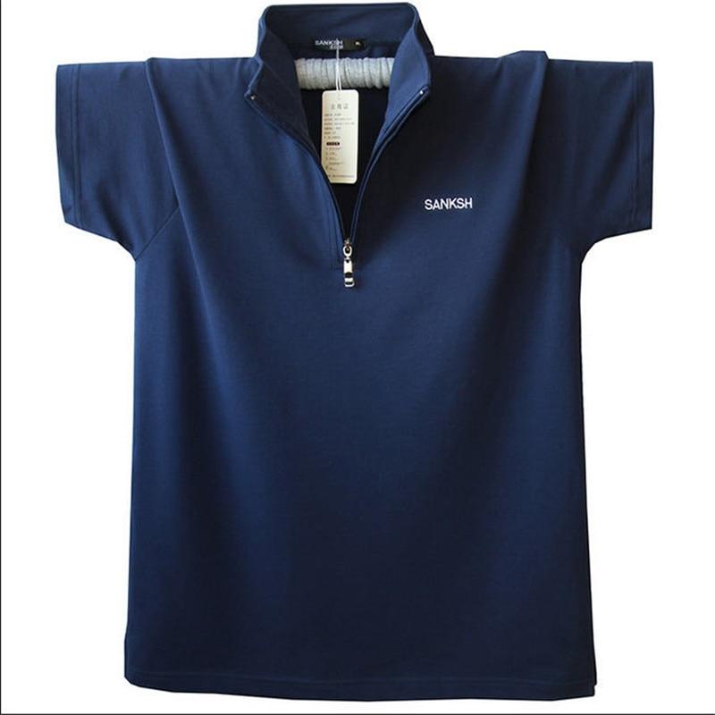 Camisa polo de manga corta para hombre 2020, camisa polo suelta de verano con cuello levantado, Jersey de algodón puro informal para hombre, L-5XL talla grande A1592