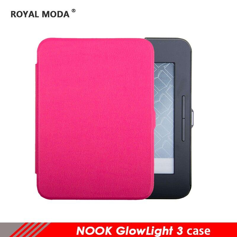 Fuente de la fábrica protector shell para Nook GlowLight3 alta calidad de castel cuero para E-book con función de dormir