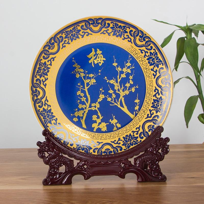 Royal estilo chino flores de ciruelo, orquídea, bambú y crisantemo Jingdezhen Hone decoración plato de porcelana de madera conjunto de Base