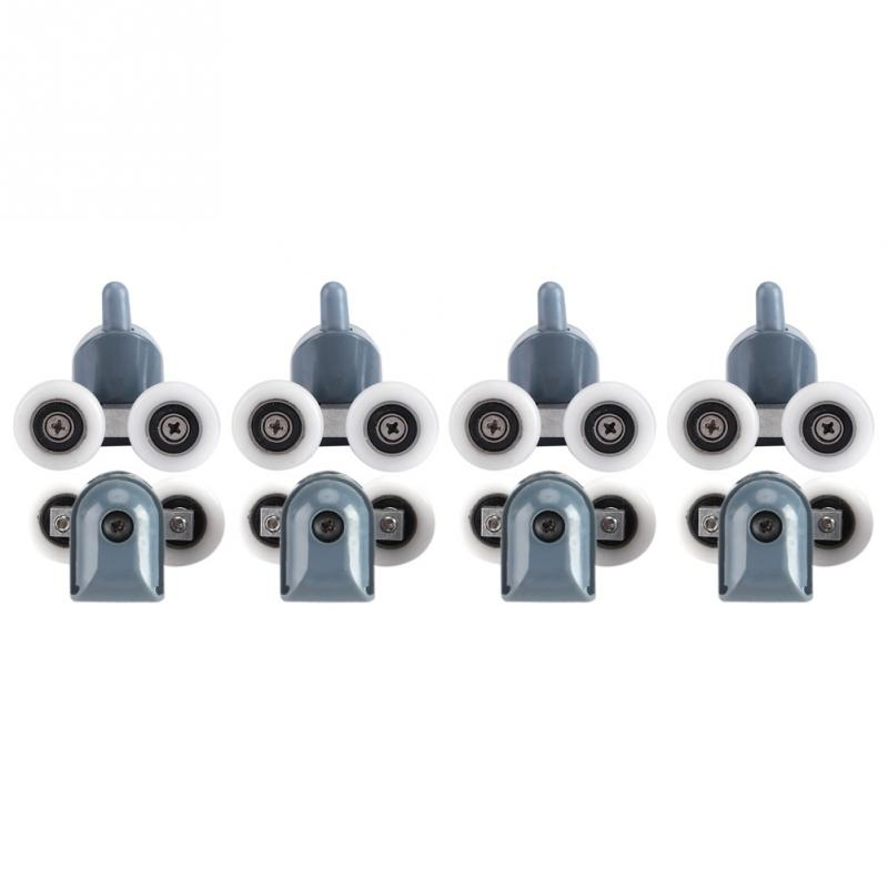 8 x twin inferior superior chuveiro porta rolos polias rodas corredores para porta do banheiro ferramenta acessório