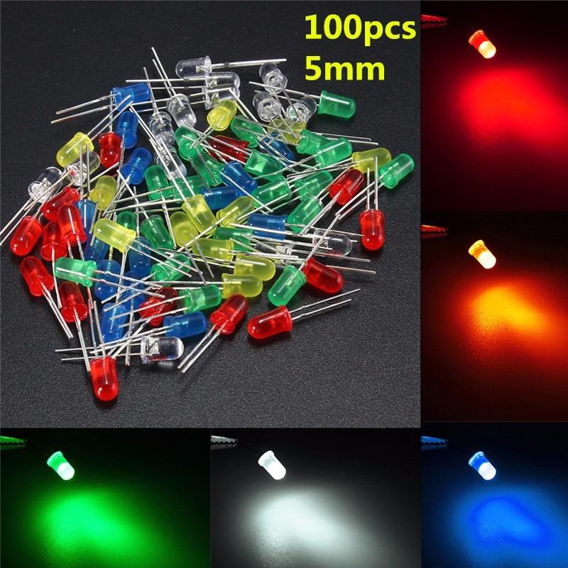 Круглые светодиодные лампы, 50 шт., 5 мм, разные цвета, красный/зеленый/синий/желтый/белый