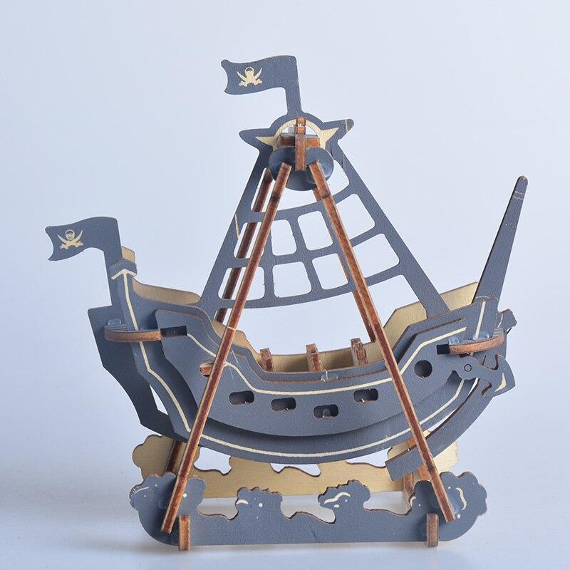 Mini barco pirata de juguete modelo 3D rompecabezas de madera modelos juguetes educativos para niños marina de madera artesanal velero náutico manualidades decorativas