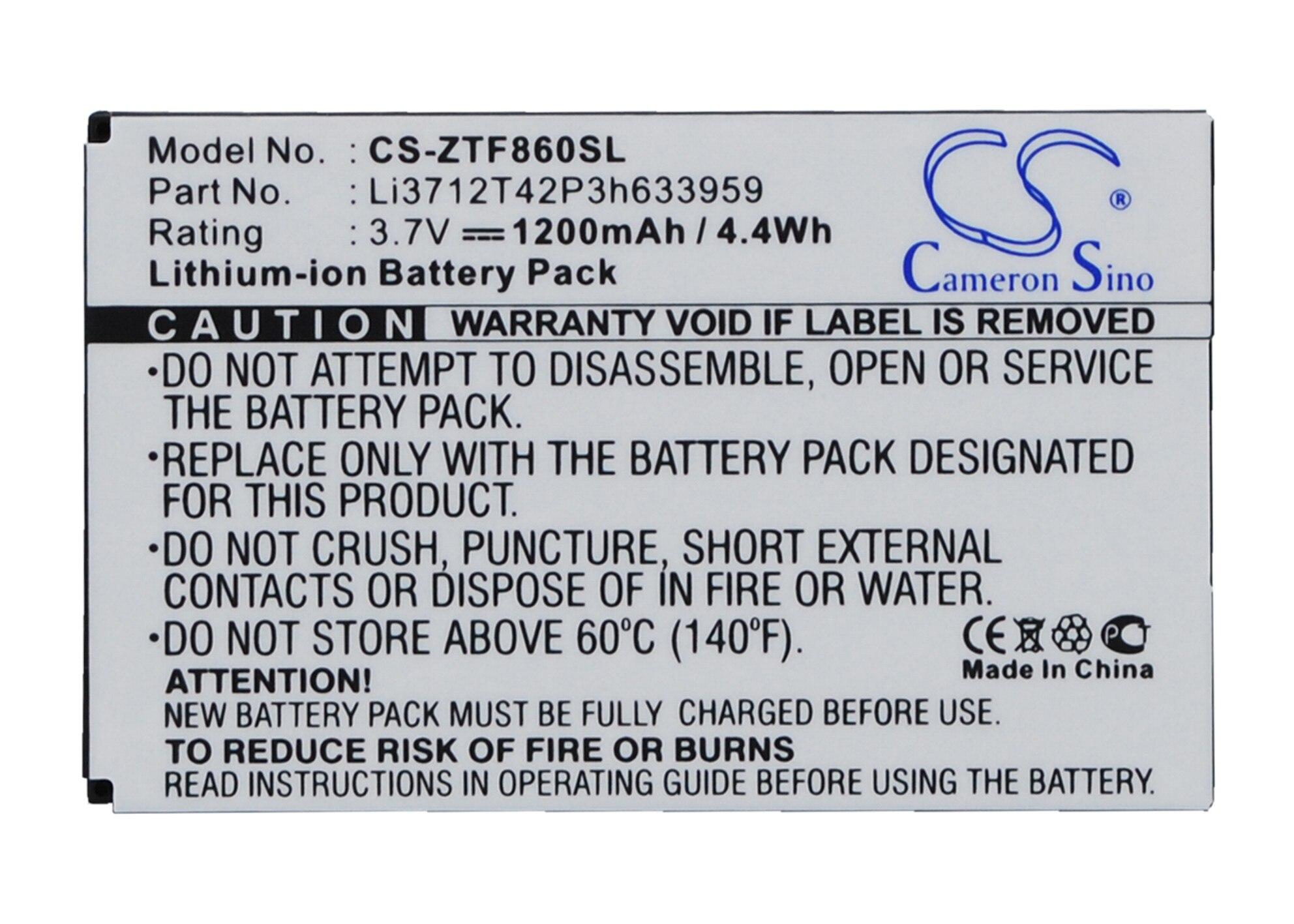 Bateria li3712t42p3h633959 de cameron sino 1200 mah para zte/telstra e700 f860 f868 f866, i909
