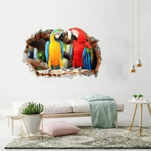 KAKUDER-autocollants muraux en 3D   Autocollant Mural mignon de perroquet, peinture décorative pour chambre à coucher, salon, télévision, décoration de papier peint Hogar Moderno