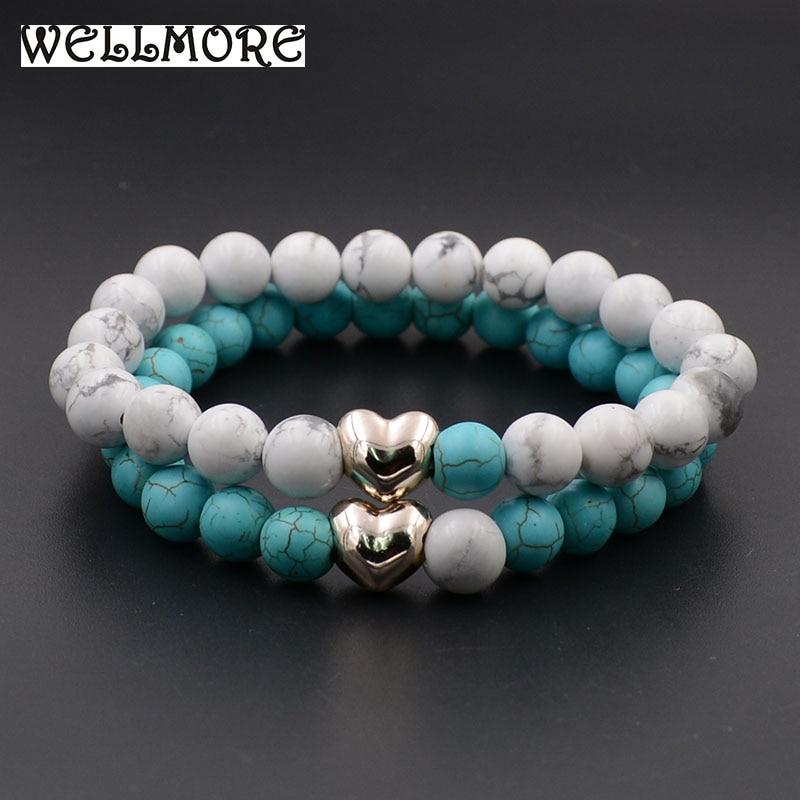 Pulseras para parejas WELLMORE, pulseras con cuentas de piedra Natural de 8MM para mujer, regalo para Amiga, joyería, venta al por mayor