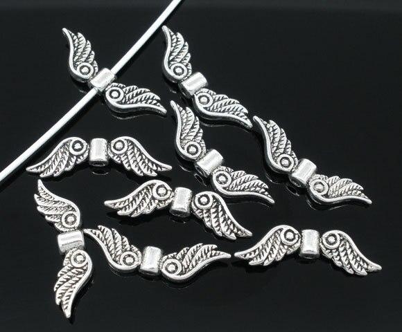Frete grátis 50 pcs tom de prata antigo do anjo asa charme espaçadores Beads 23 x 7 mm descobertas jóias J0278