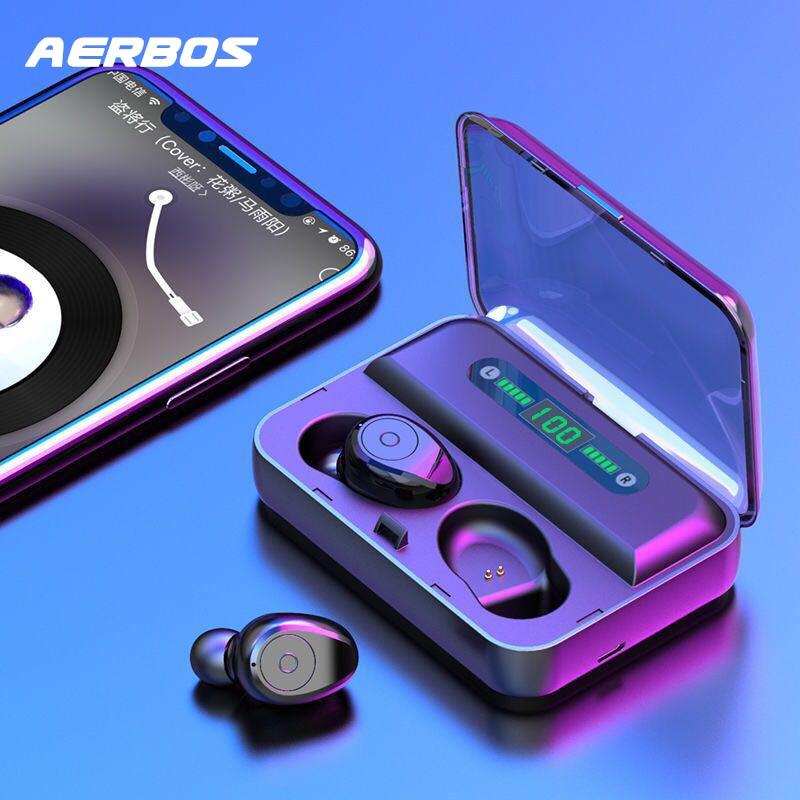 Auriculares inalámbricos con pantalla LED AERBOS, auriculares Bluetooth 5,0 resistentes al agua con batería externa De 1200 Mah, auriculares estéreo Fone De Ouvido