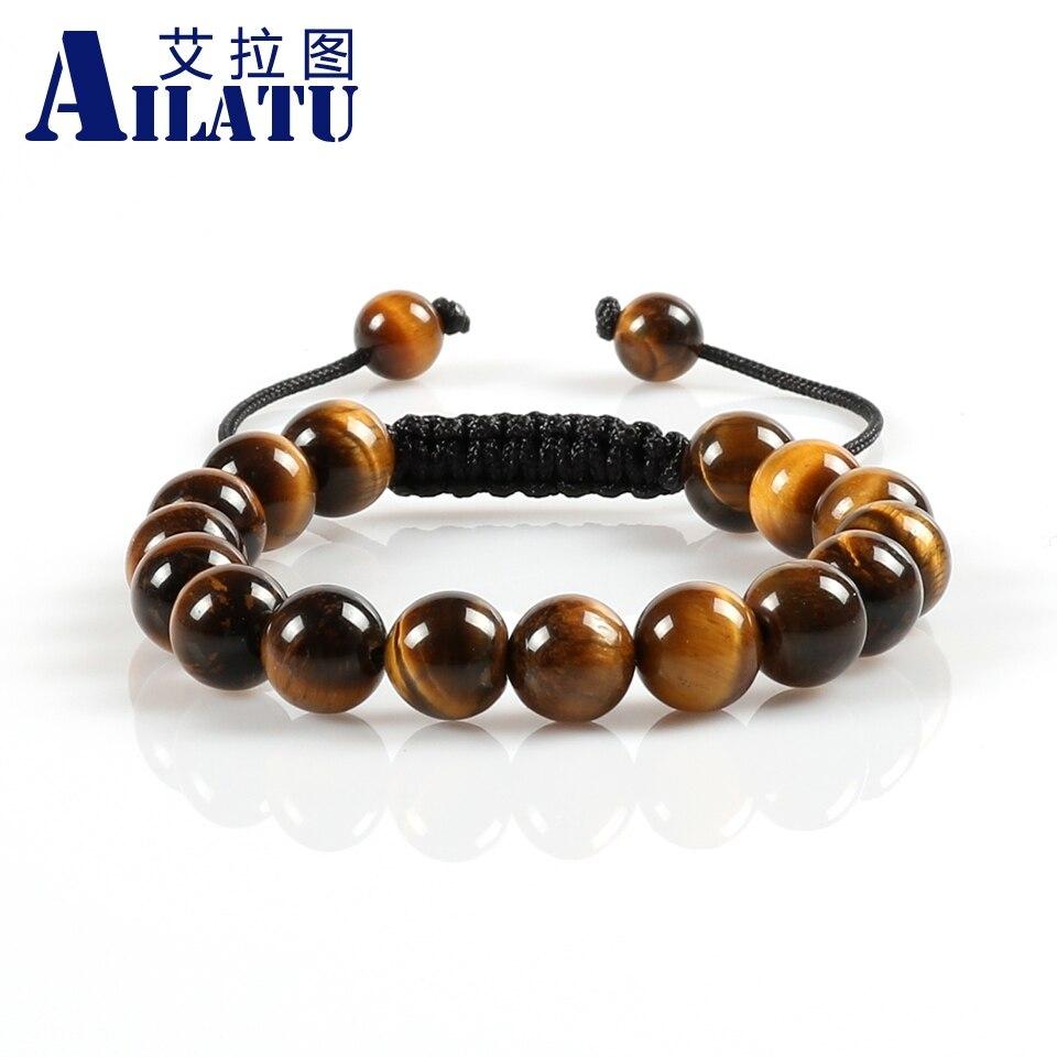 Ailatu Men' Favorite Powerful 10mm Tiger Eye Gem Stone Beads Braided Bracelet with Macrame for Fashion